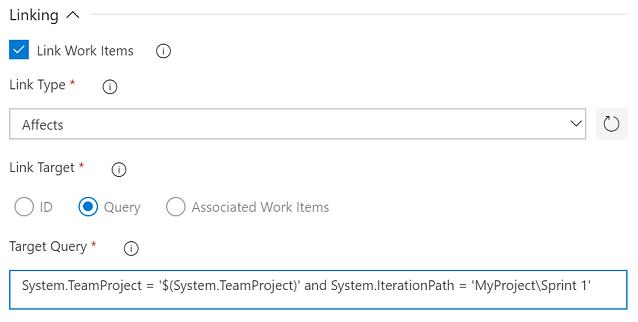 Work Item Linking Parameters